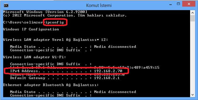 windows bilgisayar ip öğrenme