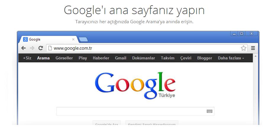 chrome açılış sayfasını google yapma