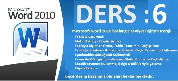 microsoft word 2010 başlangıç seviyesi eğitim ders 6