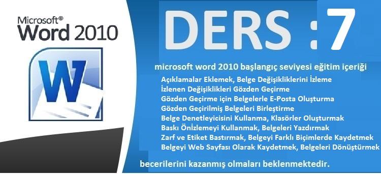 microsoft word 2010 başlangıç seviyesi eğitim ders 7