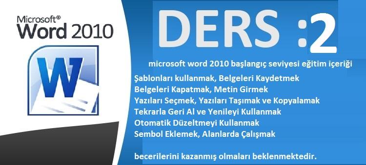 microsoft word 2010 başlangıç seviyesi eğitim ders 2